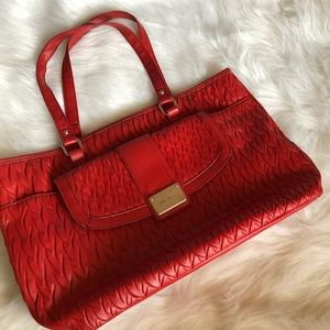 Nine West | Red quilted leather tote bag